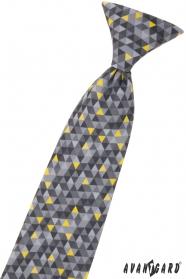 Krawat chłopięcy z szarym wzorem 44 cm