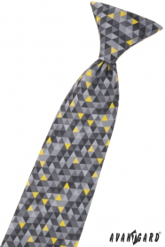 Krawat chłopięcy z szarym wzorem 31 cm