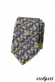 Szary, wąski krawat w trójkątny wzór