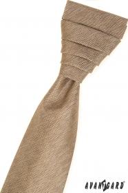Beżowy angielski krawat w komplecie z poszetką