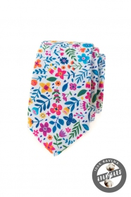 Biały slim krawat w kolorowe kwiaty