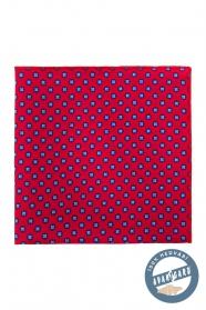 Jedwabna czerwona poszetka z niebieskim wzorem