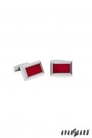 Kwadratowe spinki do mankietów srebrne z czerwonym środkiem