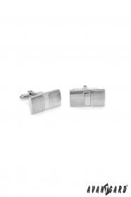 Prostokątne spinki do mankietów w srebrnym matowym kolorze