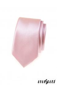 Wąski krawat męski w pudrowym kolorze