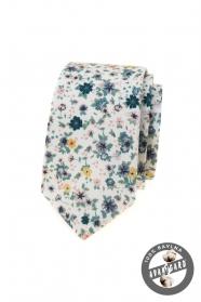 Biały wąski krawat w kolorowe kwiaty łąkowe