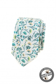 Biały krawat w kolorowe kwiaty łąkowe