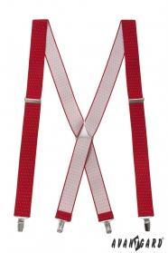 Czerwone szelki w kropki i metalowe dodatki