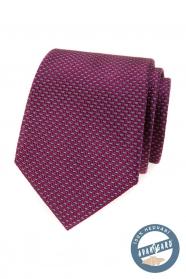 Jedwabny krawat w kolorze bordowym w niebieski wzór