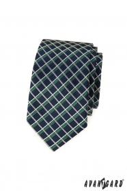 Wąski niebieski krawat, białe i zielone paski