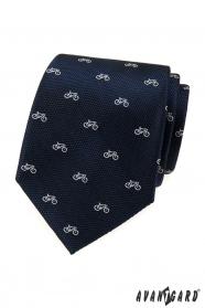Krawat w niebieskim kolorze, biały rower