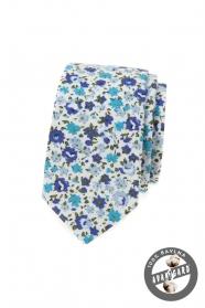 Bawełniany wąski krawat w niebieskie kwiaty