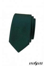Ciemnozielony wąski krawat ze strukturą