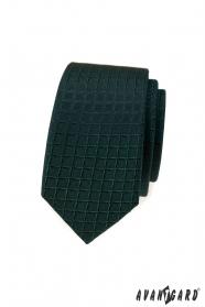 Ciemnozielony wąski krawat w kratkę