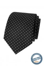 Czarny jedwabny krawat z białą kropką