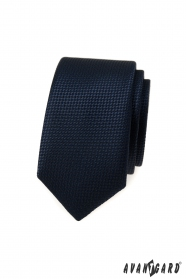 Granatowy wąski krawat o dzianinowej strukturze