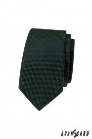 Ciemnozielony wąski krawat o strukturze dzianiny