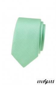 Miętowo-zielony wąski krawat