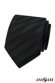 Czarny krawat w szerokie paski