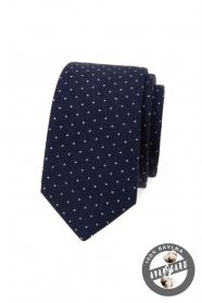 Granatowy slim krawat bawełniany w białe groszki