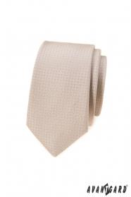 Beżowy slim krawat w kropki