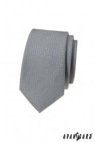 Szary krawat slim w groszki