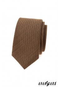 Wąski krawat, cynamonowy brąz