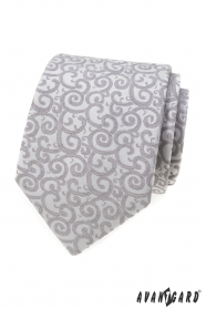 Jasnoszary krawat ze wzorem