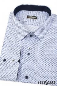 Biała koszula slim z niebieskim wzorem