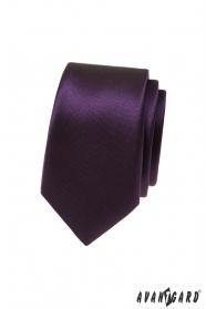 Ciemnofioletowy wąski krawat