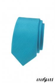 Wąski krawat w turkusowym matowym kolorze