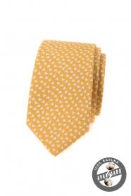 Żółty bawełniany wąski krawat w trójkąty