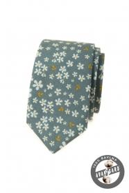 Oliwkowozielony wąski krawat w kwiatowy wzór