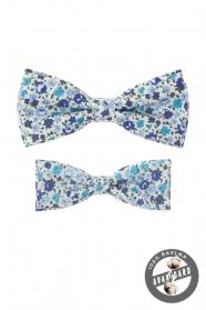 Komplet bawełnianych muszek w niebieski kwiatowy wzór