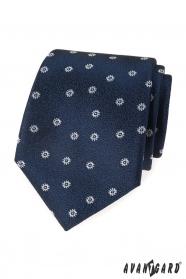Niebieski krawat z białym wzorem