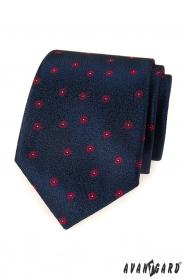 Niebieski krawat męski z czerwonym wzorem