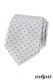 Jasnoszary krawat w niebieskie kropki