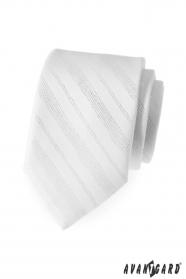Krawat męski białe błyszczące linie