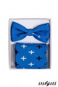 Niebieskie skarpetki we wzór w komplecie z męską muszką