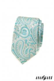 Wąski krawat z miętowym wzorem paisley