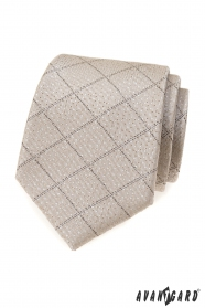 Beżowy krawat w kratkę