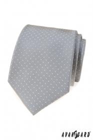 Szary krawat w kropki