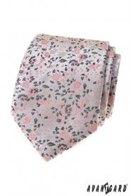Luksusowy szary krawat w różowy wzór