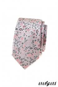 Luksusowy szary krawat slim z różowym wzorem