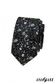 Czarny cienki krawat w kwiatowy wzór
