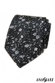 Czarny krawat w kwiaty