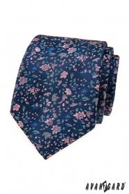 Elegancki niebieski krawat w kwiatowy wzór