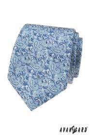 Niebieski krawat z eleganckim wzorem paisley