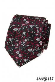 Czarny krawat w czerwono-szary wzór