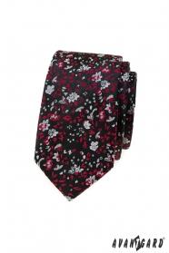 Czarny wąski krawat w czerwono-szary wzór